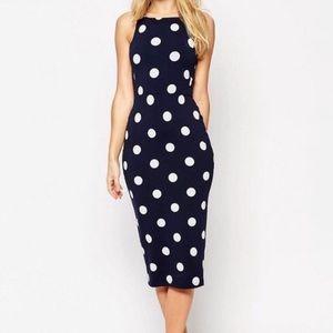 Navy white polka dot midi dress